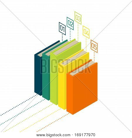Books diagram infographic. New 3d colorful books and tutorials. Isometric flat classbooks and textbooks icon. Education symbol logo. Illustration vector art.