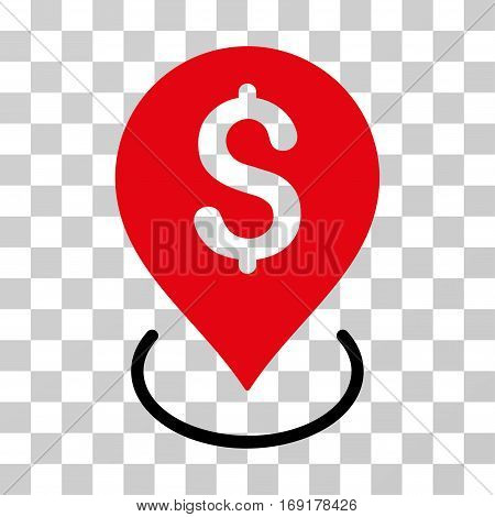 Bank Placement icon. Vector illustration style is flat iconic bicolor symbol intensive red and black colors transparent background. Designed for web and software interfaces.