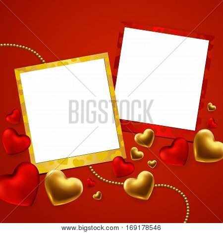 Happy Valentine's day template with gold red hearts and photo frame.