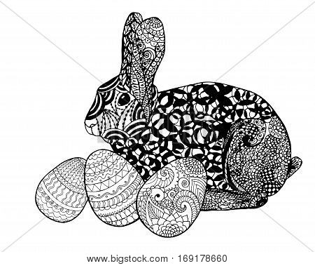 Easter bunny rabbit coloring page. Black white vector illustration. Hand drawn sketch for posters greeting cards decoration tattoo print or t-shirt. For your design and buisness.