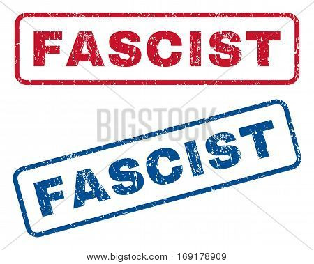 Fascist text rubber seal stamp watermarks. Vector style is blue and red ink tag inside rounded rectangular shape. Grunge design and unclean texture. Blue and red emblems.