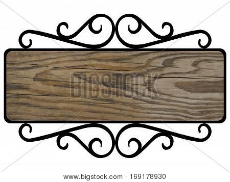 wooden plaque in forged black frame, old wooden Board with cracks in forged black a vintage frame, vector template