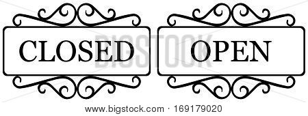 vintage sign open and closed old style, curved design of retro frame open and closed, vector