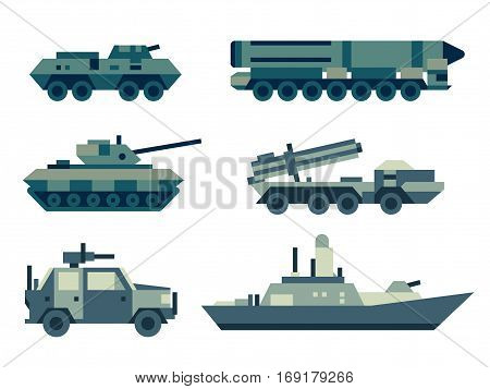 Collection of military machines. Set of army force technics include tank, truck, marine destroyer, armored troop carrier. Modern flat illustration art.