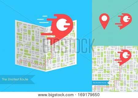 Liquid Red Pointer on Map. Fast Delivery or the Shortest Route Symbol. Navigation and search of place design. Vector