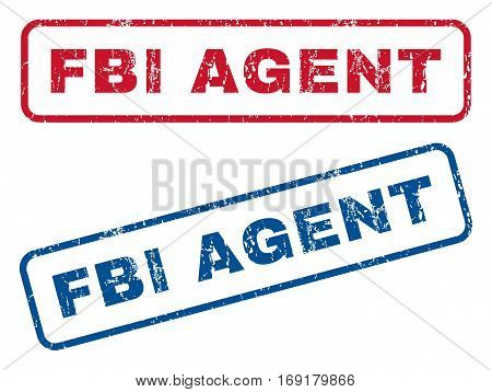 FBI Agent text rubber seal stamp watermarks. Vector style is blue and red ink caption inside rounded rectangular banner. Grunge design and unclean texture. Blue and red signs.