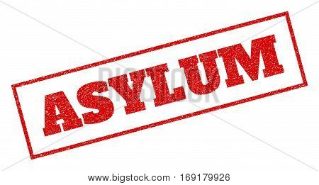 Red rubber seal stamp with Asylum text. Vector caption inside rectangular frame. Grunge design and dirty texture for watermark labels. Inclined sign.