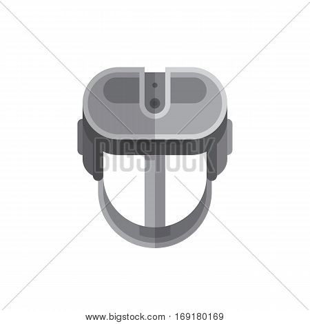 Virtual reality headset glasses flat icon. Stereoscopic 3d VR optical technology. Very addictive gadget. Modern vector illustration art.