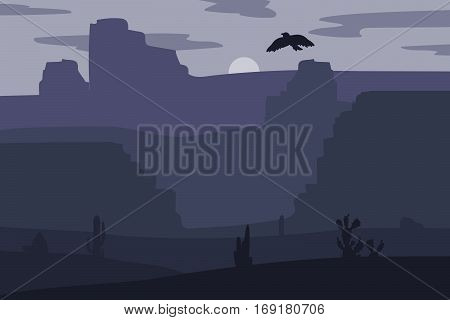 Retro Wild West galloping horse in desert. Vintage sunset in prairie with mustang cacti and eagle in sky. Western Night. Natural Landscape for print poster illustration sticker. Vector