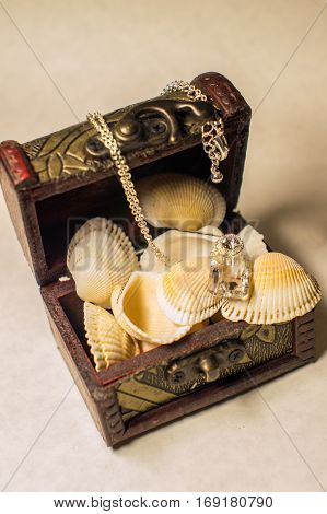Still life with a small chest and shells.