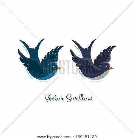 Swallow vector,  illustration isolated on white background. Birds flying, animals, bird made in flat style, bird vector. Swallow logo