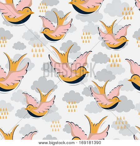 Vector seamless pattern with swallow, clouds and rain drops. Surface pattern design with swallow made in flat style. Seamless texture can be used for wallpapers, web page backgrounds, surface textures