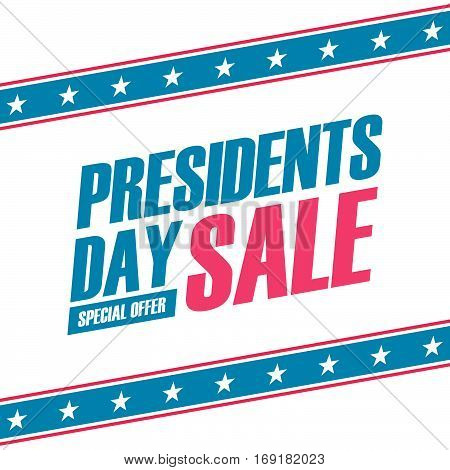 Presidents Day Sale special offer banner for business, promotion and advertising. Vector illustration.