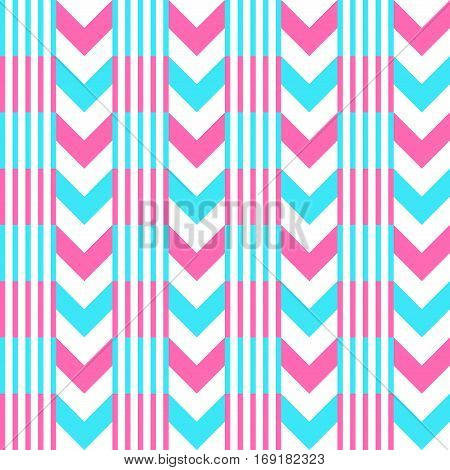 Chevron pattern seamless vector arrows and stripes design light blue hot pink vibrant colors