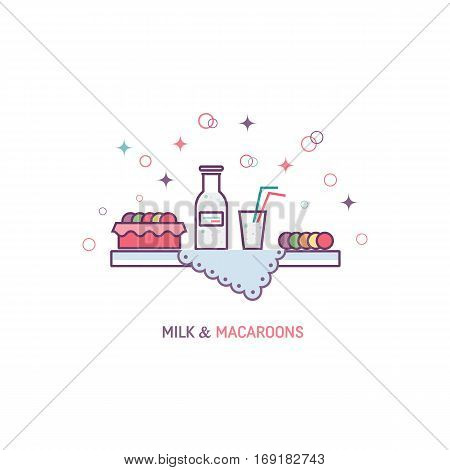Vector afternoon snack concept made in trendy linear style, including milk, macaroons and napkin  isolated on white background