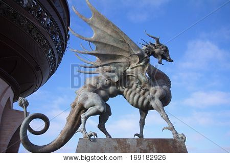 Kazan Russia - October 25 2016: Statue of dragon Zilant - symbol of the Kazan city Republic of Tatarstan Russia