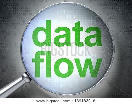 Information concept: magnifying optical glass with words Data Flow on digital background, 3D rendering