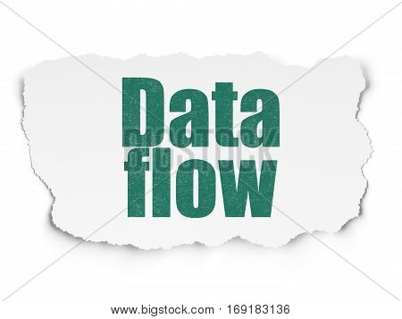 Information concept: Painted green text Data Flow on Torn Paper background with  Hexadecimal Code