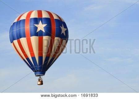 Flying balloon with the american flag colors poster