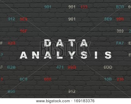 Data concept: Painted white text Data Analysis on Black Brick wall background with Hexadecimal Code