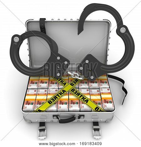Bribe. Suitcase full of money with handcuffs. A suitcase filled with with packs of Russian rubles with handcuffs and yellow tapes with text