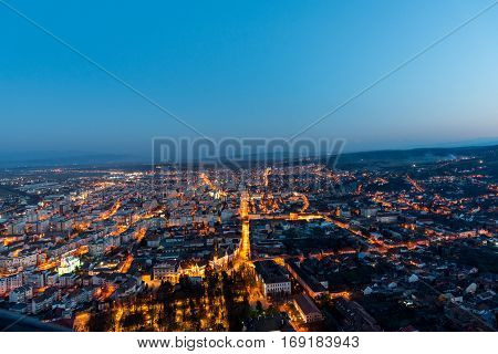 Beautiful view of the City Deva in the night