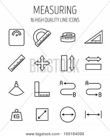 Set of measuring icons in modern thin line style. High quality black outline measure symbols for web site design and mobile apps. Simple measuring pictograms on a white background.