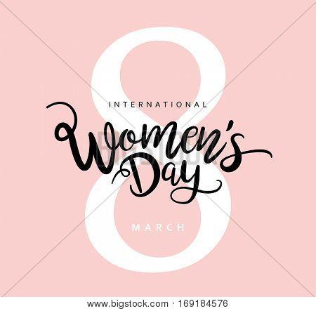 8 March International Women's Day design with handwritten lettering