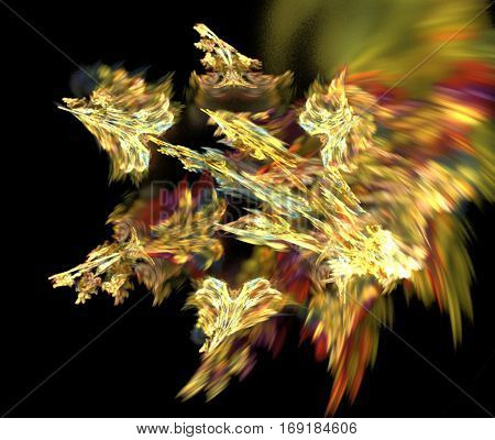 Cupid's arrows. Abstract background, fractal image syurreal. Background from multi-colored fractal structure. Illustration Space Geometry