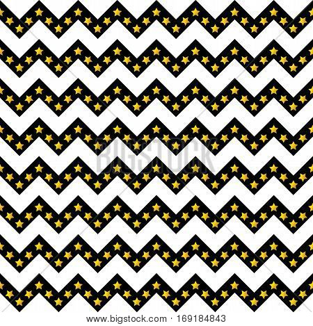 Chevron pattern seamless vector arrows and stripes design black and white with gradient golden stars
