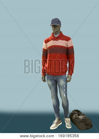 Full-length male mannequin dressed in red sweater and blue jeans isolated. No brand names or copyright objects.