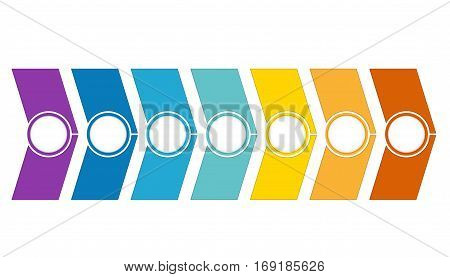Template Timeline Infographic from colour arrows 7 position on white background