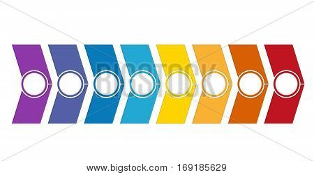 Template Timeline Infographic from colour arrows 8 position on white background