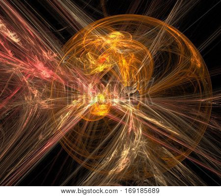 Gold illusion. Abstract background, fractal image syurreal. Background from multi-colored fractal structure. Illustration Space Geometry