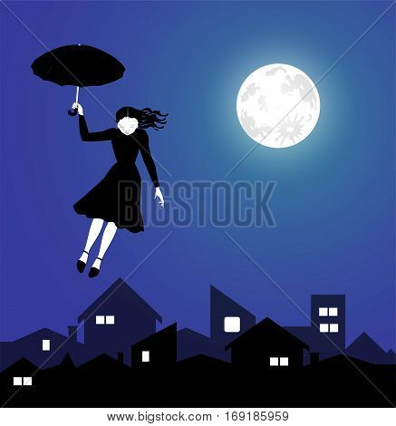 fantastic illustration of a young girl flying in the night sky