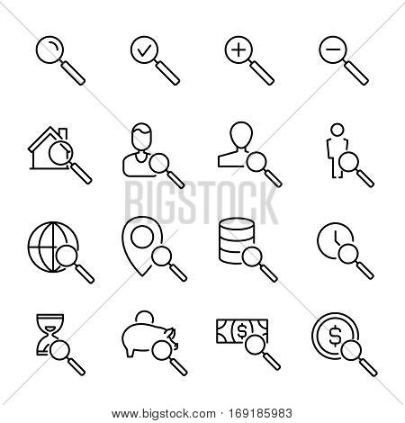 Set of search icons in modern thin line style. High quality black outline focus symbols for web site design and mobile apps. Simple search pictograms on a white background.