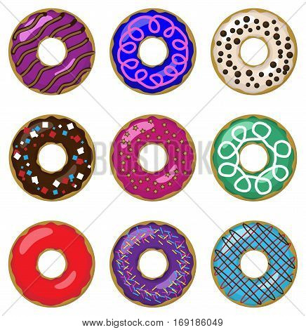 Donut different setting set collection taste color glazed donut sweet pastry seamless beautiful food pattern background texture vector closeup top view illustration isolated white background