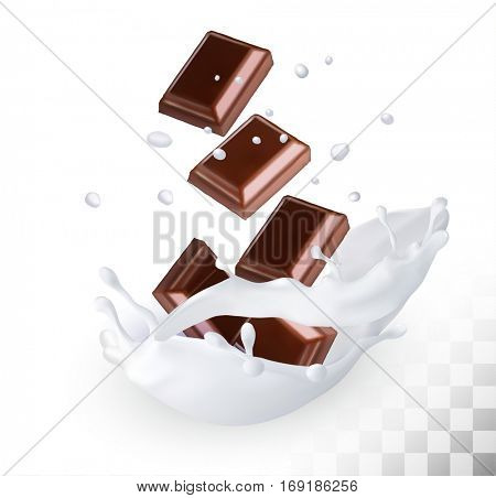 Chocolate in a milk splash on a transparent background. Vector icon.