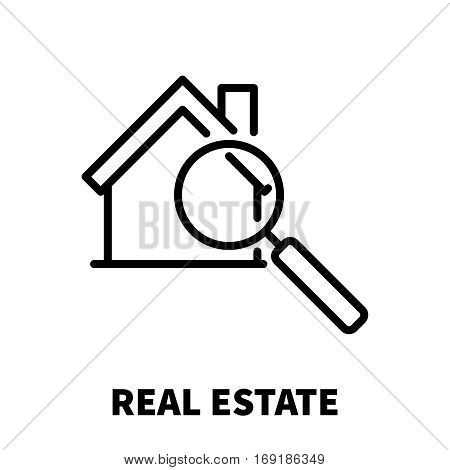 Real estate icon or logo in modern line style. High quality black outline pictogram for web site design and mobile apps. Vector illustration on a white background.