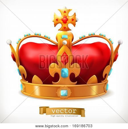 Gold crown of the king. 3d vector icon