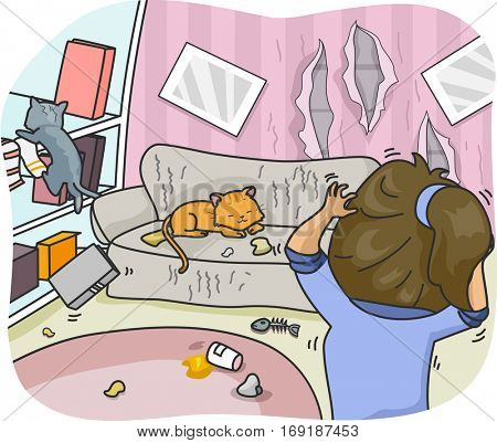 Illustration of a Woman Freaking Out Over the Mess and Damage That Her Cats Caused