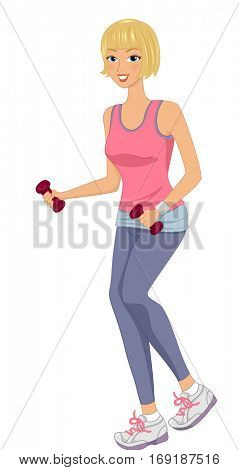 Illustration of a Girl in a Pink Tank Top and Gray Sweatpants Lifting Dumbbells