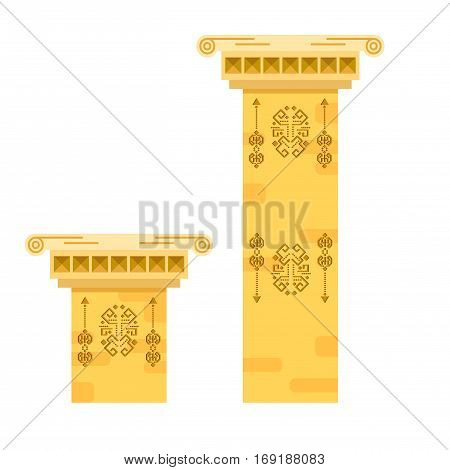 Ancient columns isolated vector illustration. Sand color stone pillars with tribal signs.
