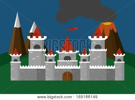 Castle .Vector illustration. In the background mountains and volcano.