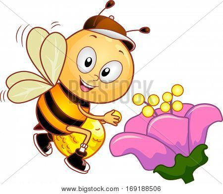 Mascot Illustration of a Cute Honeybee Collecting Pollen from a Pink Flower