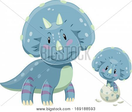 Adorable Illustration Featuring a Triceratops Mom Looking Fondly at a Baby Triceratops Hatching from an Egg