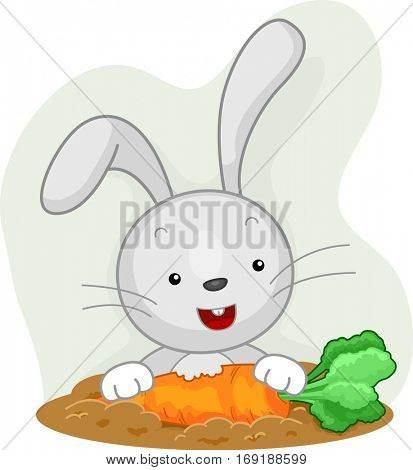 Illustration of a Cute and Fluffy Little Rabbit Practicing Attentive Eating on a Piece of Carrot