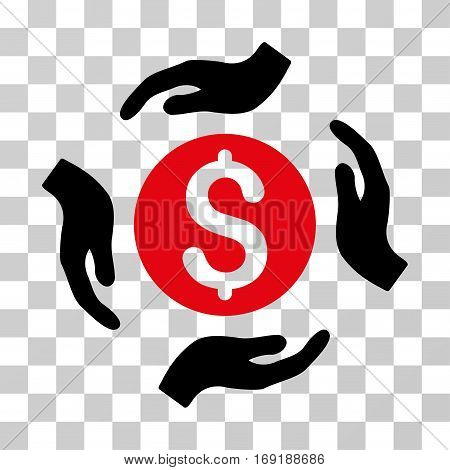 Money Care Hands icon. Vector illustration style is flat iconic bicolor symbol intensive red and black colors transparent background. Designed for web and software interfaces.