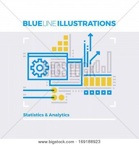 Statistics Blue Line Illustration.