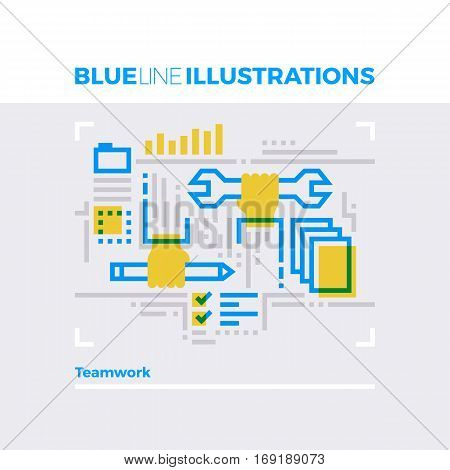 Teamwork Blue Line Illustration.